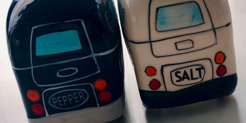 Stylish salt and pepper pots...